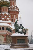 St. Basil`s Cathedral. On red square in winter time, Russia, Moscow, Maslenitsa Royalty Free Stock Images