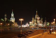 St. Basil's Cathedral and the Savior Tower, Moscow. Stock Image
