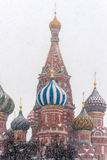 St. Basil's cathedral in snowstorm Royalty Free Stock Photography