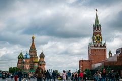 St. Basil`s Cathedral and Spasskaya Bashnya at Red Square in Moscow, Russia. royalty free stock photo