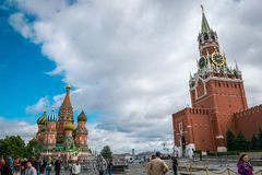 St. Basil`s Cathedral and Spasskaya Bashnya at Red Square in Moscow, Russia. stock image