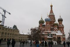 St. Basil`s Cathedral. On red square in winter time, Russia, Moscow, Maslenitsa Stock Photo