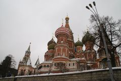 St. Basil`s Cathedral. On red square in winter time, Russia, Moscow, Maslenitsa Royalty Free Stock Photo