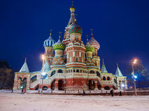 St. Basil's Cathedral in winter (snow storm), Russia Royalty Free Stock Image