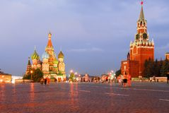 Red Square - Moscow, Russia. St Basil`s Church in Moscow Red Square on a summer`s night Stock Images