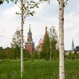 St. Basil`s Pokrovsky Cathedral and Spasskaya tower. Royalty Free Stock Photos