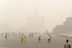St. Basil's on the Red Square. Intercession Cathedral (St. Basil's) on the Red Square under smog in Moscow Stock Photography
