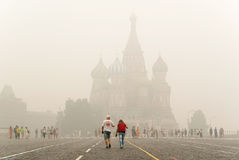 St. Basil's on the Red Square. Intercession Cathedral (St. Basil's) on the Red Square under smog in Moscow Royalty Free Stock Photography
