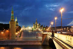 St. Basil`s Slope at Twilight - Moscow by Night Stock Photography