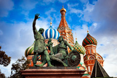 St. Basil& x27;s Cathedral and Minin and Pozhardky monument in Moscow Stock Photo