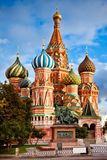 St. Basil's Cathedral and Minin and Pozhardky monument in Moscow Stock Images