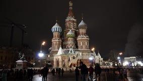 St basila katedra, zima wieczór moscow Rosji zbiory wideo