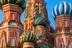 St Basilicum` s Kathedraal in de ochtend, Moskou, Rusland stock afbeelding