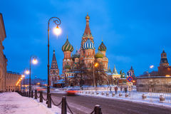 St. Basils Cathedral at night, Russia. Dusk view of St. Basils Cathedral in winter, Red Square, Moscow, Russia Royalty Free Stock Photos