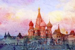 St Basils Cathedral on red square in Moscow stock image