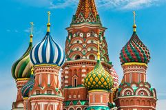 St. Basils cathedral on Red Square in Moscow stock image