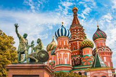 St. Basils cathedral on Red Square in Moscow, Russia. St. Basils cathedral and monument to Minin and Pozharsky on Red Square in Moscow, Russia stock images