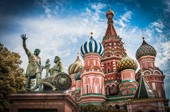 St. Basils cathedral on Red Square in Moscow, Russia. St. Basils cathedral and monument to Minin and Pozharsky on Red Square in Moscow, Russia Royalty Free Stock Photo