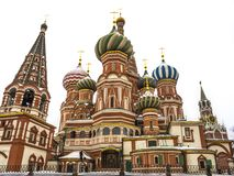 St Basils cathedral on Red Square in Moscow Russia. White . stock photography