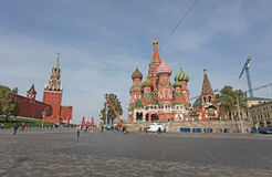 St.Basils Cathedral and Savior Tower, Moscow Stock Image