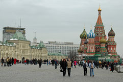St. Basils and Lenin Mausoleum, Red Square, Moscow, Russia stock photo