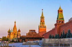St basilu katedra, mauzoleum Lenin, Kremlin i Moskwa, - Obrazy Stock