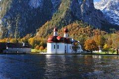 St. Batholomew's church at lake Königsee Royalty Free Stock Photo