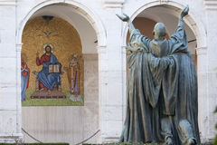 St. Benedict in aanwezigheid van Christus Royalty-vrije Stock Afbeeldingen