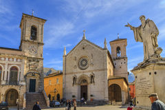 St. Benedict Square, Norcia, Italy Stock Photography
