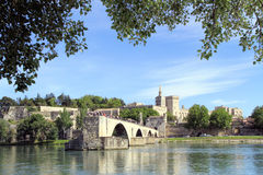 St.-Benezet bridge in Avignon, France. Famous medieval bridge in the town of Avignon, in southern France. ( from Island of Barthelasse Royalty Free Stock Photo