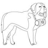 St Bernard dog lifesaver outline Royalty Free Stock Image