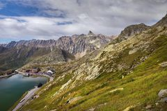 St Bernard Pass di grande in Svizzera Immagini Stock Libere da Diritti
