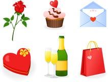St Biglietto di S. Valentino \ 'icone di giorno di s impostate Fotografie Stock Libere da Diritti