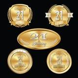 21st Birthday Anniversary Badge. Twenty First birthday emblem. Luxury Anniversary badge. Quality vector. Celebrating Anniversary vector illustration