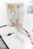 21ST BIRTHDAY CARD AND SIGNATURE BOOK. 21st Birthday card with signature book. Commonly used at 21st birthday parties Stock Photography