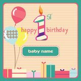 1st Birthday Greeting Card Candle. 1st Birthday Greeting Card for Baby royalty free illustration