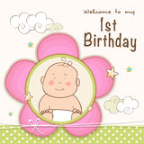 1st Birthday Invitation card design. Kids 1st Birthday celebration Invitation card design with cute baby vector illustration