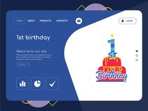 1st birthday Landing page website template design. Quality One Page 1st birthday Website Template Vector Eps, Modern Web Design with flat UI elements and Royalty Free Stock Images