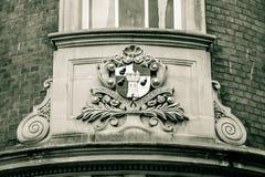 ST blanco y negro de HDR del escudo de armas de Worcester Fotos de archivo