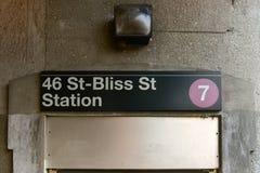 46 St - Bliss Street Station - New York City Arkivfoto
