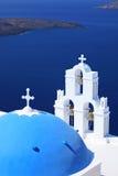 St blu Spirou della chiesa della cupola in Firostefani Immagini Stock Libere da Diritti