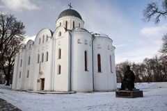 St. Boris and Gleb cathedral and a monument to Chernihiv prince Royalty Free Stock Photography