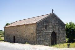 St Brà ¡ s教堂,与Templar起源的一座老纪念碑在Castelo诺沃,布朗库堡,葡萄牙 免版税库存照片