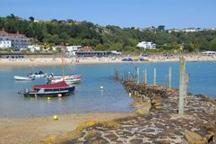 St. Brelade Harbour and Beach, Jersey. The small harbour at the end of St. Brelade beach on the south coast of Jersey Royalty Free Stock Photo