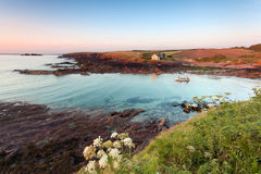 St. Brides Bay, Pembrokeshire : colorful scenery at sunset. St Brides Bay is a rocky bay inlet in western Pembrokeshire, West Wales Stock Photo