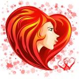 St. Cara de la muchacha de la tarjeta del día de San Valentín con el pelo en forma de corazón rojo Fotos de archivo libres de regalías