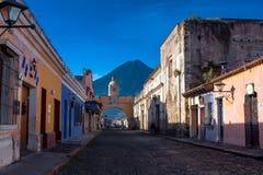 St Catarina arc and volcano Agua. St Catarina arc and volcano Antigua Guatemala Royalty Free Stock Image