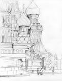 St. Catedral de la albahaca en Moscú ilustración del vector