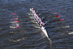St. Catharine`s Crew races in the Head of Charles Regatta Men`s Youth Eight Stock Image
