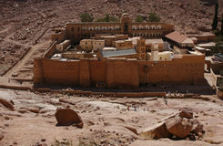 St. Catherine's Monastery. The Greek Orthodox monastery of St. Catherine at the foot of Mount Sinai (2285 m) on the Sinai Peninsula, Egypt. People believe stock photography